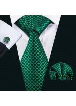 Комплект мъжка вратовръзка за бизнес и официални случаи кърпичка и ръкавели в тъмно зелено и черно