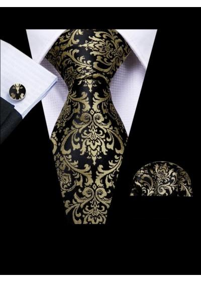 Луксозен мъжки комплект вратовръзка кърпичка и ръкавели в черно и златно модел KMS21081