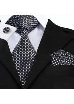 Стилен комплект мъжка вратовръзка кърпичка и ръкавели в черно и бяло