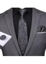 Официална Вратовръзка комплект с кърпичка и ръкавели в черно и сребристо сиво
