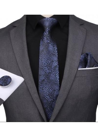 Изключително ефектен мъжки комплект вратовръзка кърпичка и ръкавели в черно и тъмно синьо
