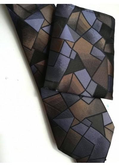 Комплект луксозна вратовръзка и кърпичка за джоб в кафяво сиво с абстрактни мотиви