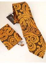 Официален комплект вратовръзка кърпичка и ръкавели от копринен жакард в златисто оранжево и графитено сиво