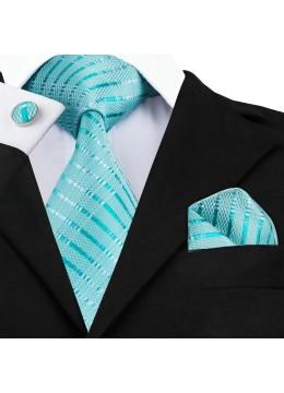 Изчистен комплект вратовръзка кърпичка и ръкавели в цвят тюркоаз (Тифани)