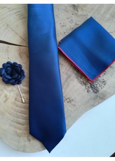 Стилна вратовръзка за младоженец в тъмно синьо в комплект с кърпичка и бутониера