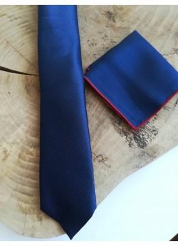 Стилен комплект мъжка вратовръзка бизнес клас и кърпичка за джоб в тъмно синьо