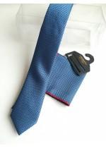 Модерен комплект тънка мъжка вратовръзка и кърпичка в синьо
