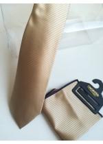 Мъжка вратовръзка и кърпичка копринен жакард в бежово с лек златист оттенък