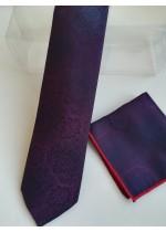 Комплект вратовръзка и кърпичка в преливащо се тъмно виолетово и синьо