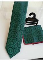 Бизнес клас мъжка вратовръзка и кърпичка в тъмно зелено със сини акценти