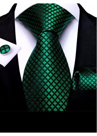Мъжка вратовръзка в наситено тъмно зелено комплект с кърпичка и ръкавели модел РЧ21084