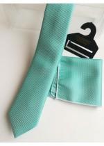 Красив комплект мъжка вратовръзка и кърпичка в зелен тюркоаз