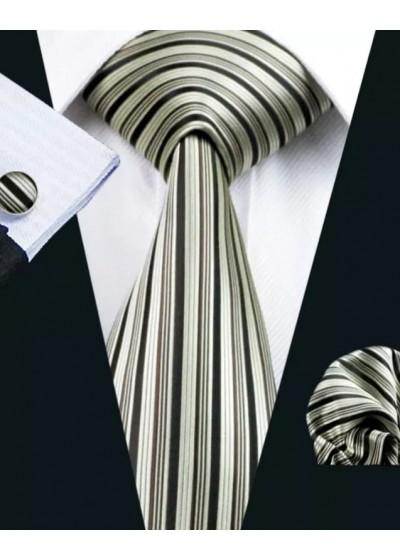 Луксозна копринена вратовръзка комплект с ръкавели и кърпичка в сребърно и черно модел РМЛ21083