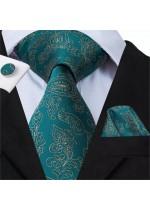 Официален комплект вратовръзка кърпичка и ръкавели в тъмен тюркоаз със златисти акценти