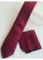 Комплект мъжка вратовръзка бизнес клас и кърпичка в бордо с черни акценти