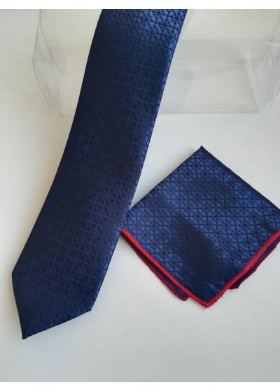Бизнес клас комплект мъжка вратовръзка и кърпичка от копринен жакард в тъмно синьо с черни геометрични мотиви