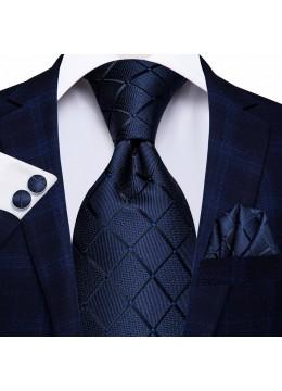 Класически комплект за младоженец и абитуриент от вратовръзка кърпичка и ръкавели в тъмно синьо
