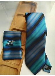 Ефектен мъжки комплект вратовръзка кърпичка и ръкавели в тъмно синьо и тюркоаз и кутия