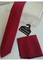 Комплект мъжка вратовръзка бизнес клас и кърпичка във вишнево червено с тъмно сини точици