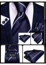 Класически комплект вратовръзка кърпичка и ръкавели в тъмно синьо цвят деним и бяло