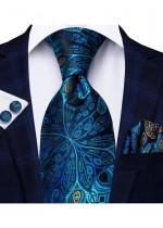 Комплект луксозна мъжка вратовръзка кърпичка и ръкавели в тъмно и морско синьо и тюркоаз
