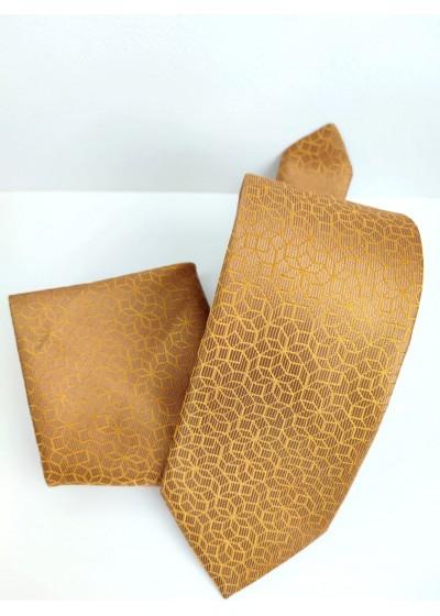 Елегантна мъжка вратовръзка и кърпичка в златисто и бежово