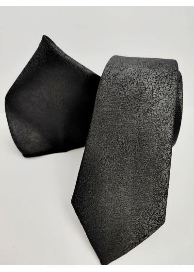 Мъжка черна копринена вратовръзка комплект с кърпичка за джоб