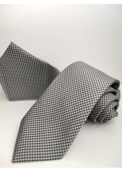 Класическа мъжка вратовръзка и кърпичка в сребристо сиво и черно