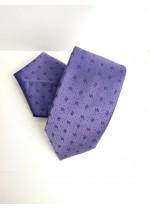 Бизнес клас копринена мъжка вратовръзка и кърпичка в светло лилаво