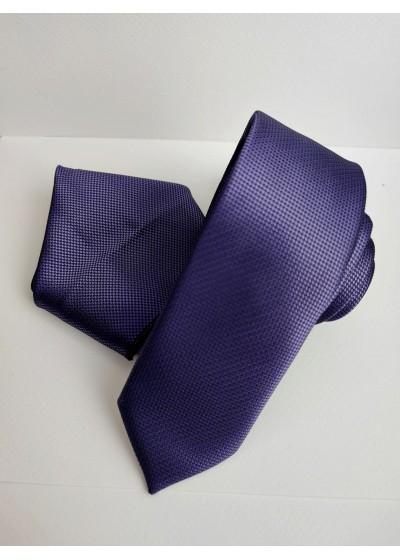 Красив комплект мъжка вратовръзка и кърпичка в тъмно лилаво