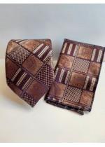 Вратовръзка за младоженец и абитуриент цвят Кафяво с геометрични мотиви с кърпичка за джоб