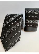 Мъжки комплект вратовръзка и кърпичка за джоб за абитуриент цвят черно с бели акценти