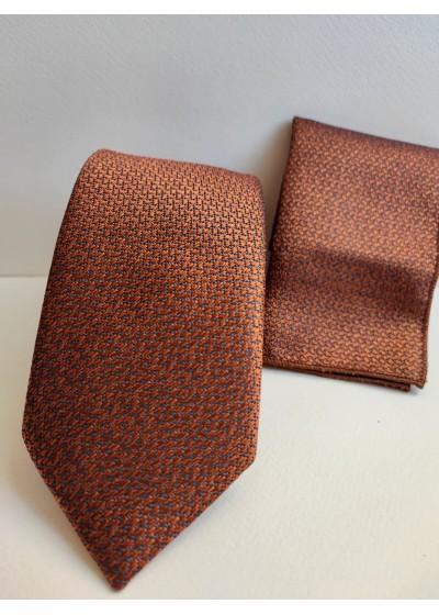 Комплект мъжка копринена вратовръзка и кърпичка в цвят медно кафяво