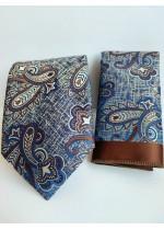 Бизнес клас копринена мъжка вратовръзка и кърпичка в кафяво и синьо