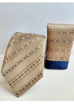 Комплект мъжка копринена вратовръзка и кърпичка в златно
