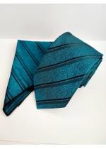 Луксозна мъжка вратовръзка в тъмен тюркоаз с черно райе комплект с кърпичка за джоб