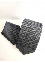 Луксозен комплект вратовръзка и кърпичка за джоб в черно и графит