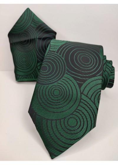 Луксозна мъжка вратовръзка в тъмно зелено и черно комплект с кърпичка за джоб