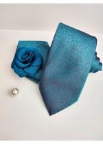 Елегантен комплект вратовръзка кърпичка и бутониера в цвят тъмен тюркоаз