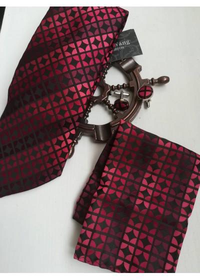 Луксозен мъжки комплект копринена вратовръзка ръкавели и кърпичка за джоб в червено и бордо