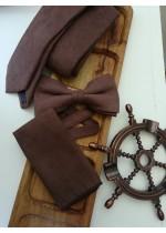 Луксозен мъжки комплект вратовръзка папийонка и кърпичка в шоколадово кафяво
