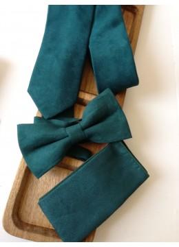 Стилен мъжки комплект вратовръзка папийонка и кърпичка в тъмно зелено