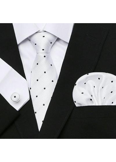 Елегантна вратовръзка, кърпичка и ръкавелиза летния сезон в бяло на черни точки