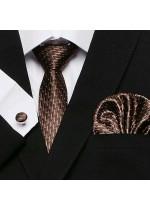 Изключително стилен и елегантен комплект от вратовръзка в шоколадово кафяво, кърпичка и ръкавели