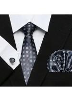 Комплект вратовръзка, ръкавели и кърпичка в графитено сиво със сребристи детелинки