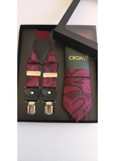 Луксозен мъжки комплект бизнес клас вратовръзка кърпичка и тиранти в бордо и черно