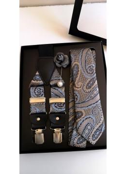 Луксозен комплект мъжка вратовръзка тиранти и бутониера в сиво синята гама за бизнес и официални случаи