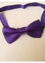 Папийонка коприна за сватба и бизнес тъмно лилаво