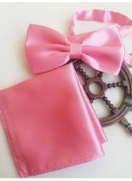 Комплект папионка и кърпичка в розово