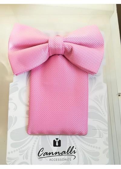 Комплект мъжка папийонка и кърпичка за джоб в розово модел на Cannalli